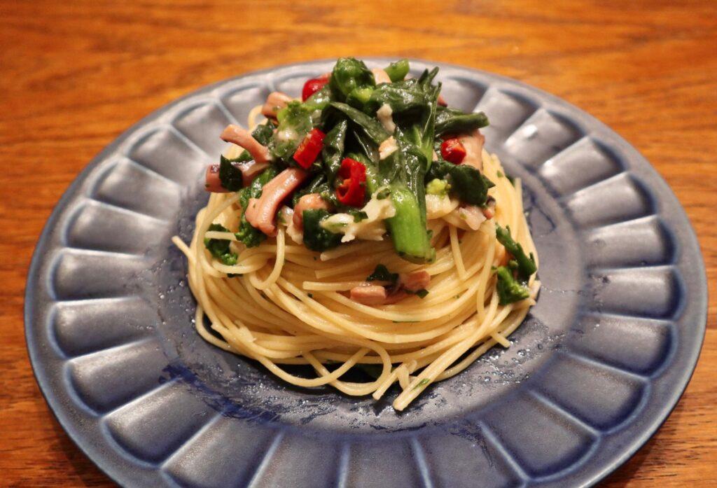 塩辛と菜の花のペペロンチーノ